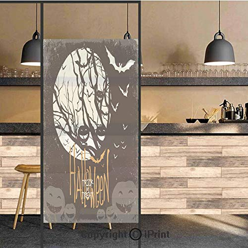 3D Decorative Privacy Window Films,Halloween Themed Image with Full Moon and Jack o Lanterns on a Tree Decorative,No-Glue Self Static Cling Glass film for Home Bedroom Bathroom Kitchen Office 24x36 In