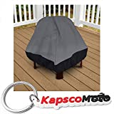 Patio Stand-Up Fire Pit Outdoor Cover 35'' Height Dark Grey with Black Hem - 100% Waterproof Winter Storage Cover Deck Patio Backyard Veranda Porch Firepit Covers + KapscoMoto Keychain