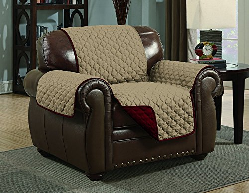 Quilted Reversible Microfiber Pet Dog Couch Furniture Protector Cover (Chair, Burgundy/Camel) ()