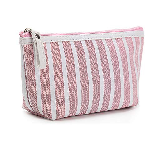(Striped Canvas Cosmetic Bag Women Makeup Bags Travel Toiletry Wash Organizer Portable Zipper Small Makeup Pouch Case,Pink)
