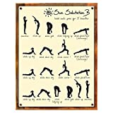 Wood-Framed Sun Salutation B Metal Sign, Yoga Philosophy of Healthy Mind and Body, Wellness on reclaimed, rustic wood For Sale