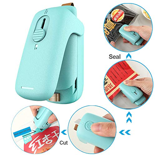 Handheld Mini Bag Sealer, 2 in 1 Heat Sealer and Cutter, Portable Heat Vacuum Sealers, Bag Resealer for Plastic Bags, Snacks Fresh, Food Storage, With Safety Lock, Magnet stickers (Battery Not Included)