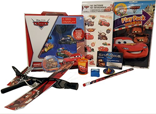 (Disney CARS Activity Bundle Disney Pixar Play Pack Pencil Sharpener Stickers Tattoos Toys & More 10 pc Travel Stocking Stuffers Birthday Christmas)