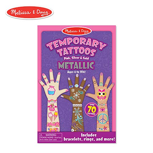 Melissa & Doug Temporary Tattoos - Metallic Temporary Tattoos -