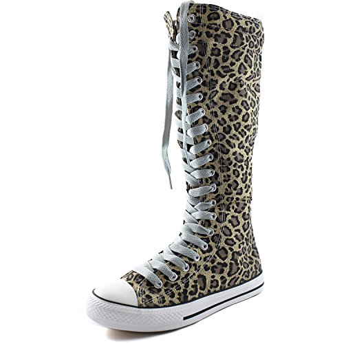 DailyShoes Womens Canvas Mid Calf Tall Boots Casual Sneaker Punk Flat, Leopard Boots, Clean Grey Lace,10 B(M) US