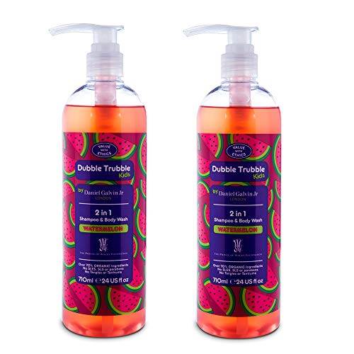 Dubble Trubble 2-in-1 Natural Kids Shampoo and Body Wash, Refreshing Watermelon, 24 Ounces, 2 pack