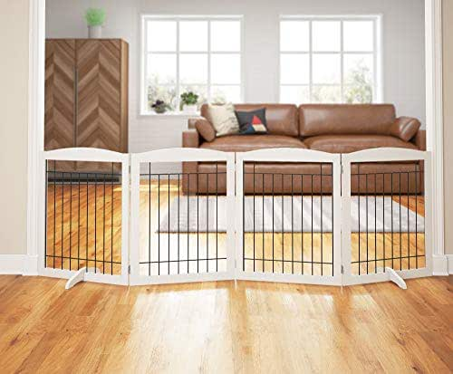 PAWLAND 96-inch Extra Wide Dog gate for The House, Doorway, Stairs, Freestanding Foldable Wire Pet Gate, Pet Puppy Safety Fence   Set of Support Feet Included (White, 30