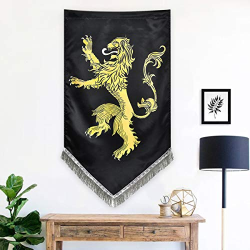 Sevenstars Game of Thrones Tapestry Wall Hanging House Lannister Tapestry Wall Banner with Tassel Fringe, 27.5 x 45 - Banner Lions