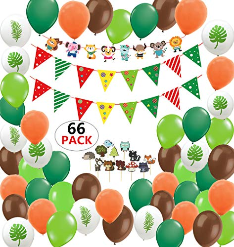 Animal Party Supplies Favor Jungle Safari Theme Zoo Party Supplies Decorations, JumDaQ Forest Wild Animal Safari Jungle Banner Cut Outs Balloons Pennant Banners for Baby Shower Kids Boys Girls Birthday Party Decoration 66 Packs -