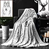 Unique Custom Double Sides Print Flannel Blankets Animal Wildlife Woods Winter Animal Wolf Dog Sketchy Hand Drawn Image Artwork Print Bl Super Soft Blanketry for Bed Couch, Twin Size 60 x 80 Inches