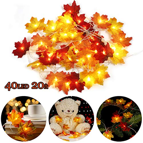 Christmas Decorations, Maple Leaf Lights, 40LED,20ft/20LED 9.8ft Battery Powered Harvest Fall Garlands String Light for Home, Party, Wedding, Holiday Christmas Decoration (40LED-20FT, Muilticolor) (Christmas Decorations Leaf Maple)