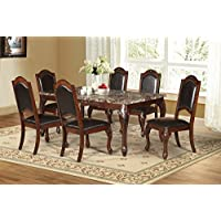 Best Quality Furniture D73Set 7 Piece Faux Marble Cherry Traditional Style Dining Set