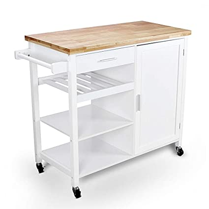 Amazon.com - Allbest2you Portable Rolling Wood White Top ...