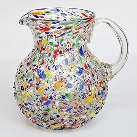 MexHandcraft Blown Glass Large 118oz Confetti Rocks Pitcher and 6 Drinking Glasses set