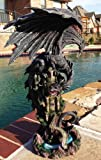 Ebros Large 23.5'' Tall Ancient Black Dragon Guarding Castle Rampart Atop A Rocky Cliff Statue Mythical Fantasy Home Decor (Black Rampart Dragon)