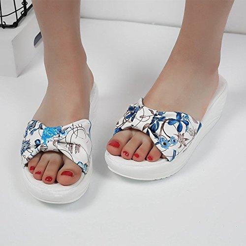 Blue Verano amp;QIUMEI Impresión Tierra De La Estudiantes Zapatos Fondo Plano OME Refrescarse Los Y De De Zapatillas f0xgfa