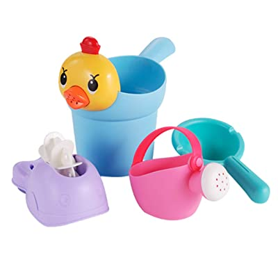 NUOBESTY Toddler Bath Toys Outdoor Beach Sand Bucket Set Beach Bathroom Dual Use Water Toy for Baby: Toys & Games