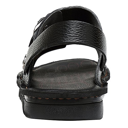 Jamron Men's Stylish Genuine Leather Buckle Sandals Dual-Purpose Slide Slippers Sandals Black ahYuR0Zkzl