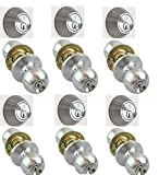 NU-SET 6x(F-E-26D+70026D) Fremont 6 Sets of Nuset(26D) Entry Door Knob and Single Cylinder Dead Bolt Combo Finishing, All Keyed Same, Satin Chrome
