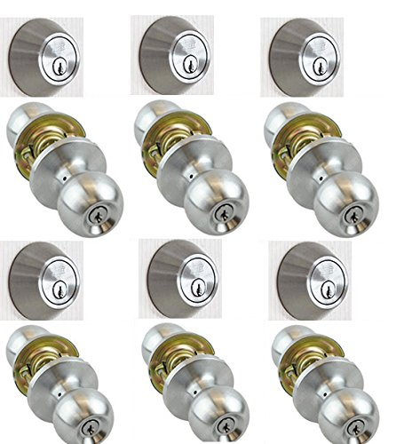 NU-Set 6X(F-E-26D+70026D) Fremont 6 Sets of Nuset(26D) Entry Door Knob and Single Cylinder Dead Bolt Combo Finishing, All Keyed Same, Satin (26d Satin Chrome Single)