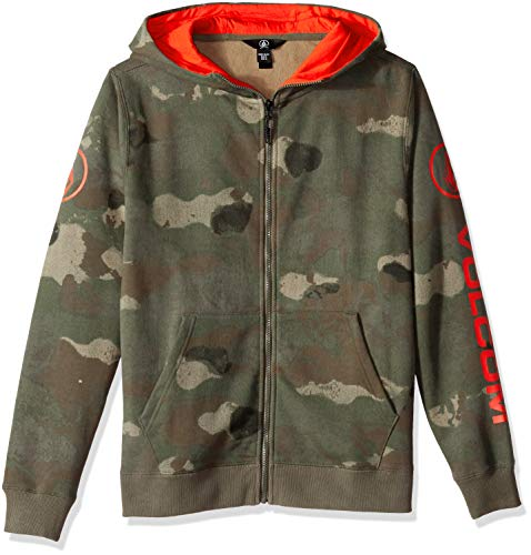 (Volcom Boys Taghum Relaxed fit Snow Hooded Fleece Sweatshirt, Camouflage Extra Large)
