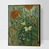 MADE4U [ Post-Impressionism 2 Van Gogh Series ] [ 20'' ] [ Thicker (1'') ] [ Wood Framed ] Paint by Numbers Kit with Brushes and Paints (Butterfly and Poppies) HYXPII4024
