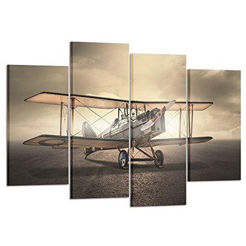 Kreative Arts 4 Pieces Vintage Aircraft Wall Art Giclee Canvas Prints Old Poster Airplane Pictures Canvas Stretched and Framed Plane Pictures Paintings Artwork for Home Decor (Art 1' Framed Print)