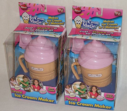 (2 Pack) Ice Cream Magic Personal Ice Cream Maker Strawberry Pink Lid