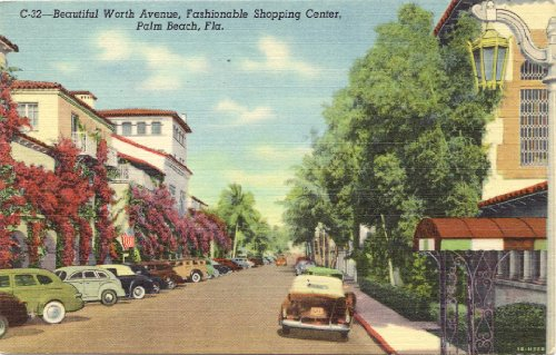 1950s Vintage Postcard Worth Avenue Shopping District Palm Beach - Worth Avenue Shopping