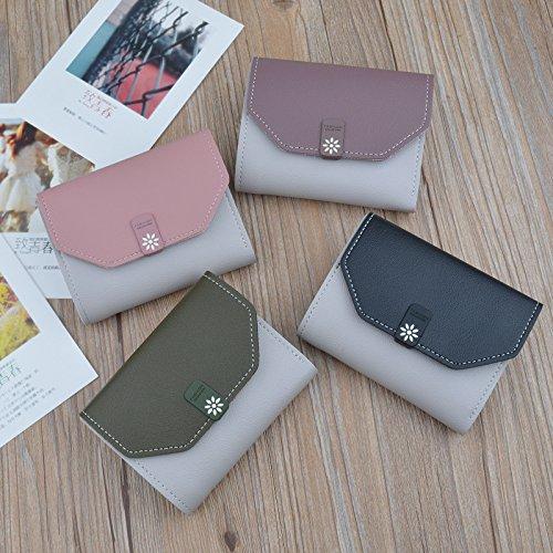 Damen Geldbörse Klein Compact Damen Brieftasche Blume Pearl Portemonnaie mit Reißverschluss Pocket Leder Geldbörse Kartenhalter Mädchen Münze (Pink-Pearl) Pink-Blume N2paA