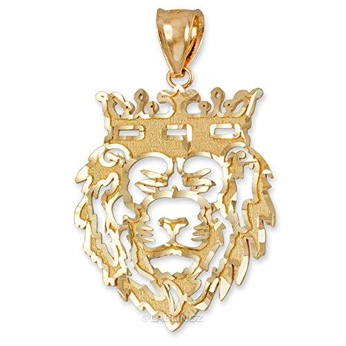 LA BLINGZ 14K Yellow Gold DC Lion King Mens Pendant (L) ()