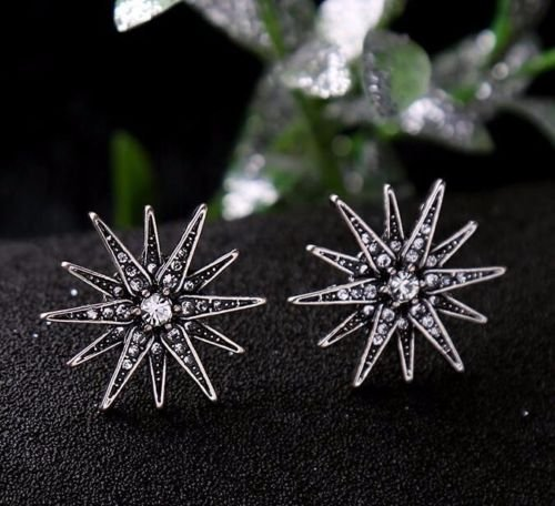 Tiffany Starburst (UltraSunday J4 Radiant Star Art Deco Starburst Stud Earring Vintage Silver Crystal Flower)