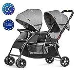 Besrey Double Strollers Baby Pram Tandem Buggy Newborn Pushchair with Adjustable Backrest & Footrest - Grey