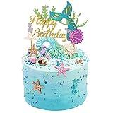 Sakolla Glitter Mermaid Cake Topper Happy Birthday Cake Picks Mermaid Cake Decoration for Mermaid Baby Shower Birthday Party Supplies