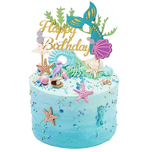 Sakolla Glitter Mermaid Cake Topper Happy Birthday Picks Decoration For Baby Shower Party Supplies Amazon Grocery