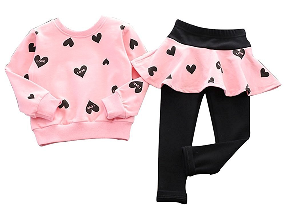 WAYNE FINKELSTEIN Little Girls Adorable Cute Toddler Baby Girls Clothes Set,Long Sleeve T-shirt +Pants Outfit Pink(Love print) 7-8 Years