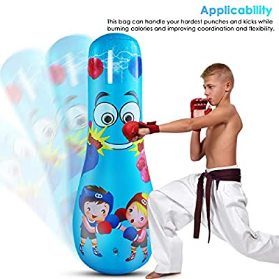 ROSEBEAR 47inch Kids Inflatable Punching Bag Free Standing Boxing Punching Bag for Exercise Stress Relief Indoors Sports Fitness Training: Sports & Outdoors