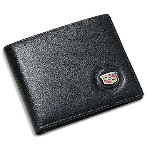 Cadillac Bifold Wallet With 3 Credit Card Slots And Id Window   Genuine Leather