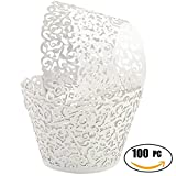SUYEPER 100pcs Cupcake Wrappers Artistic Bake Cake Paper Cups Little Vine Lace Laser Cut Liner Baking Cup Muffin Case Trays for Wedding Party Birthday Decoration (White)