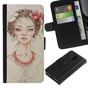 KingStore / Leather Etui en cuir / Samsung Galaxy S5 V SM-G900 / Perle Fashion Portrait Beige