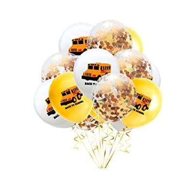15pcs Latex Balloons School Bus Vehicle Printing Balloons Confetti Balloons for Kids Birthday Party Favors - Champagne: Toys & Games