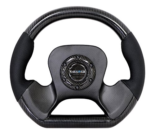 NRG Innovations ST-X10CF Carbon Fiber Steering Wheel with Le