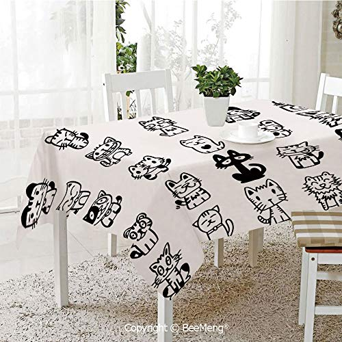 BeeMeng Large dustproof Waterproof Tablecloth,Hand Drawn Sketchy Cats with Happy Face Gestures Comic Creatures Funny Art Print Image,Black White70 x 104 inches ()