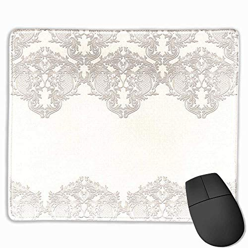 Taupe Black Cloth Mousepad Lace Like Framework Borders with Arabesque Details Delicate Intricate Retro Dated Print Custom Mouse pad 11.8