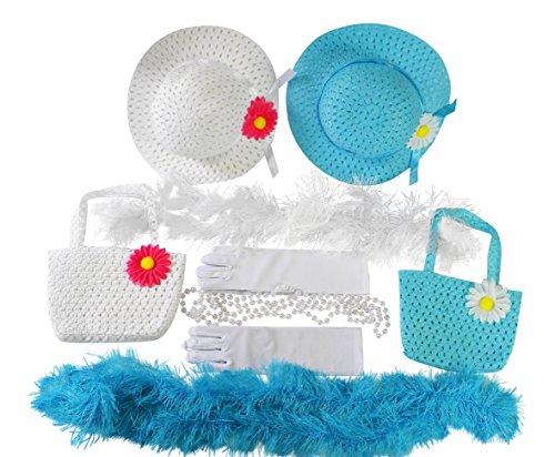 Girls Tea Party Dress Up Set Hats Purses Boas Gloves Necklaces Blue White Morgan