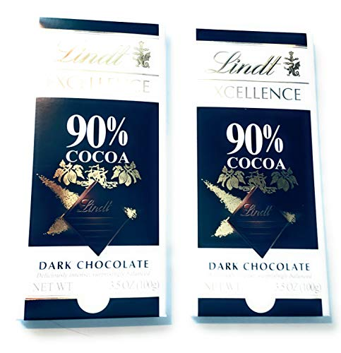 Excellence Cocoa - Lindt Excellence 90% Dark Supreme Chocolate Bar 100g - Pack of 2