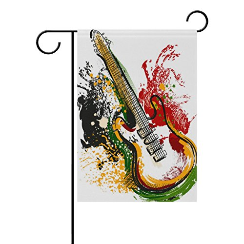 ALAZA Electric Guitar Grunge Style Art Garden Flag Decorativ