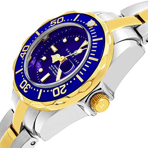 "Amazon.com: Henry Jay Womens Dainty 23K Gold Plated Two Tone Stainless Steel "" Specialty Aquamaster"" Watch with Date: Watches"