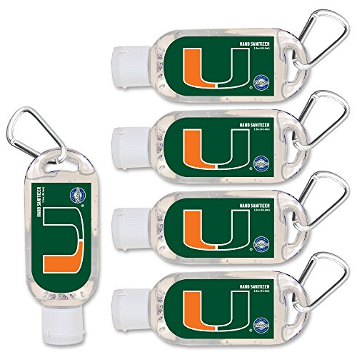 NCAA Miami Hurricanes Hand Sanitizer with Clip, 5-Pack. Moisturizers Aloe Vera and Vitamin E. (1.5 oz Containers) NCAA Gifts for Men and Women, Christmas Stocking Stuffers