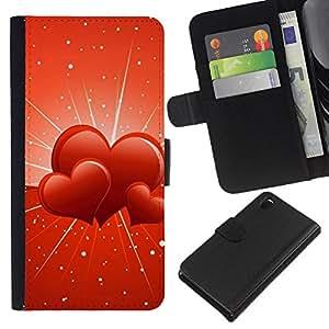 KLONGSHOP // Tirón de la caja Cartera de cuero con ranuras para tarjetas - Tres corazones - Sony Xperia Z3 D6603 //